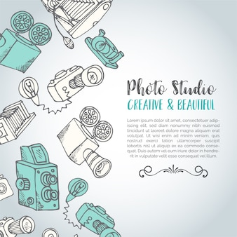 Sketchy hand drawn vector photo card Premium Vector