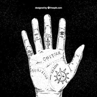 Sketchy hand with prediction symbols