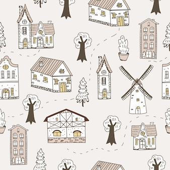 Sketchy houses seamless pattern. doodle town background