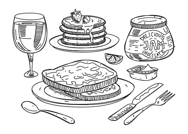 Sketchy illustration of breakfast food