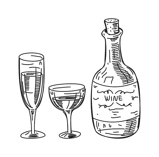 ワインのスケッチのイラスト