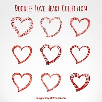 Эскизные любовь коллекция сердца