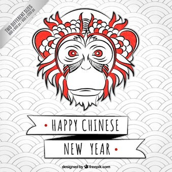 Sketchy monkey new year background
