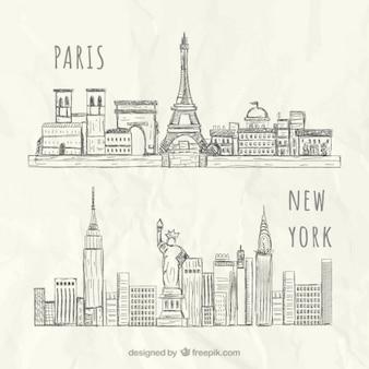 스케치 뉴욕과 파리 스카이 라인