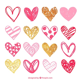 Sketchy pink hearts pack