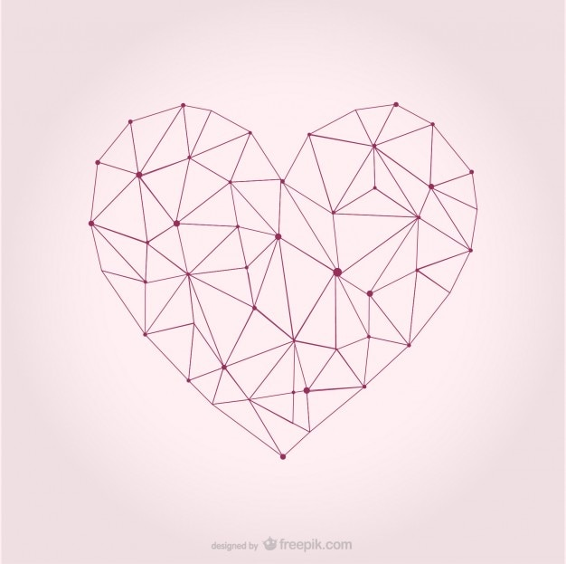 Sketchy and polygonal heart