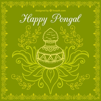 Sketchy pongal pot on a green background