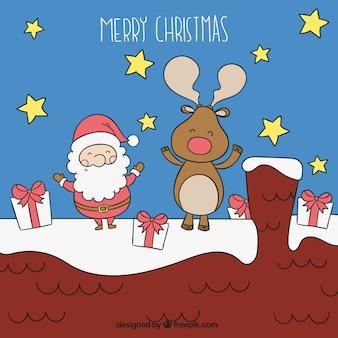 Sketchy santa claus and reindeer illustration