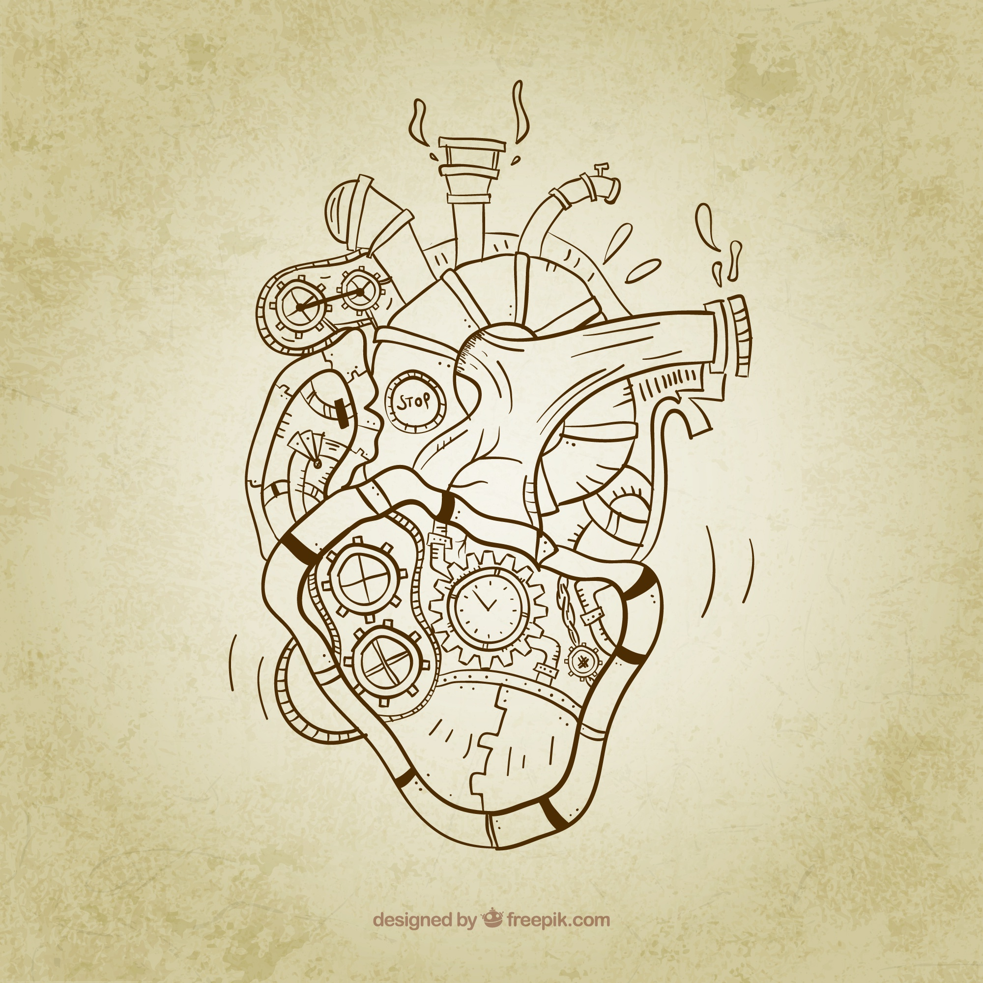 Sketchy steampunk heart
