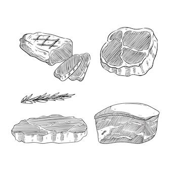 Схематичный стиль мясного стейка с черно-белым цветом