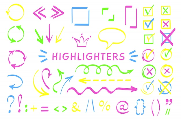 Sketchy symbol and arrows highlight pen vector set