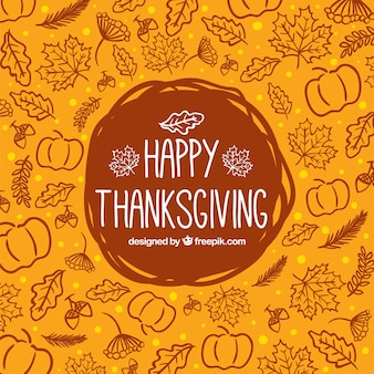Sketchy thanksgiving background Free Vector