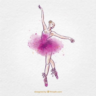 Sketchy watercolor ballet dancer