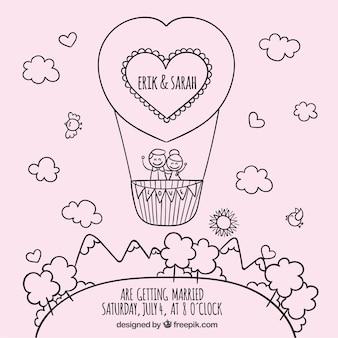 Sketchy wedding invitation