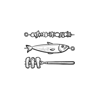 シシカバブと焼き魚の手描きのアウトライン落書きアイコンと串。白い背景で隔離の印刷物、ウェブ、モバイル、インフォグラフィックの肉と魚のベクトルスケッチイラストからシシカバブ。