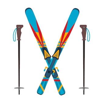 Лыжи и палки векторные иллюстрации, изолированные на белом фоне. лыжное зимнее спортивное оборудование снежные горные инструменты досуг. холодный экстремальный спуск, развлечения, активный зимний лыжный спорт, спортивный отдых.