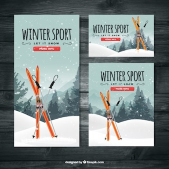 Ski banners set of different sizes