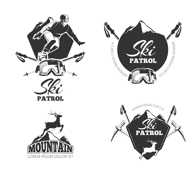 Ski club, mountain patrol emblems, labels, badges, logos set.