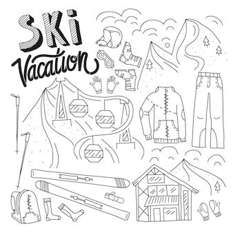Лыжное снаряжение в векторном лыжном комплекте инфографики набор каракули рисованной стиль