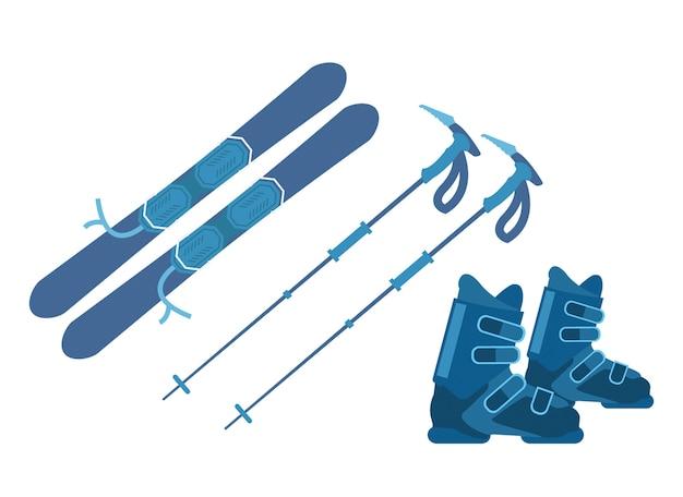 Ski equipment set on vector illustration