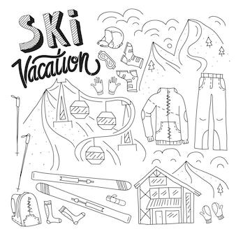 Ski equipment in vector ski kit infographic set doodle hand drawn style