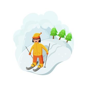 Ski girl on white