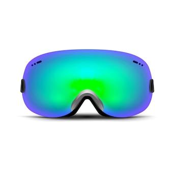 白で隔離のスキーゴーグル。雪用冬用ガラスマスク。顔のスノーボード保護。ヴィンテージサングラス。