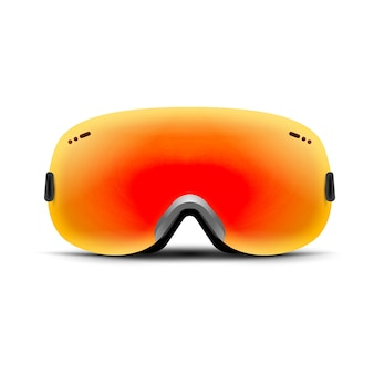 Ski goggles isolated on white. winter glass mask for snow. snowboard protection for face. vintage sunglasses.