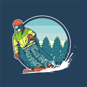 Ski graphic illustration