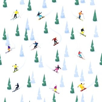 Ski hill seamless pattern
