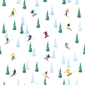 Ski hill бесшовные шаблон