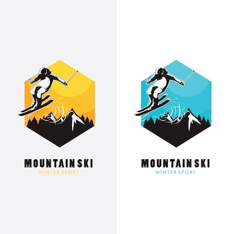 Ski logo design,ski silhouette