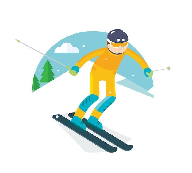 Ski player slide in the snow mountain