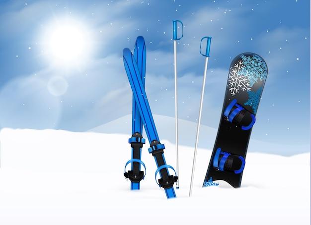 Лыжные палки и сноуборд в снегу с голубым небом и солнцем реалистично