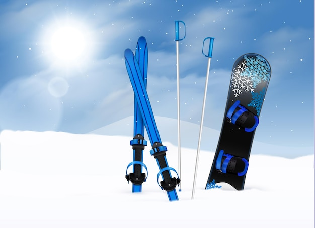 Ski poles and snowboard in snow with blue sky and sun realistic