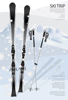 Ski poster template illustration