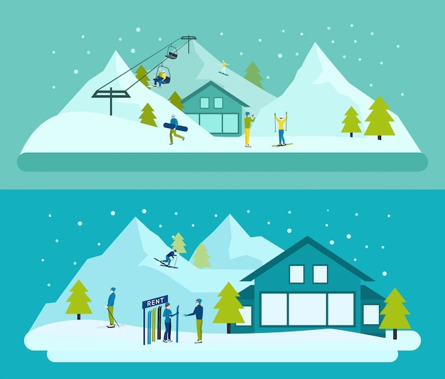 Ski resort background set