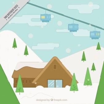 Ski resort background with cabin