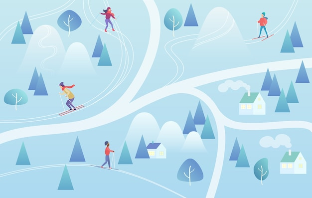 Ski resort background with snowboarders and skiers Premium Vector