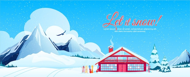 Ski resort banner with winter landscape in flat style