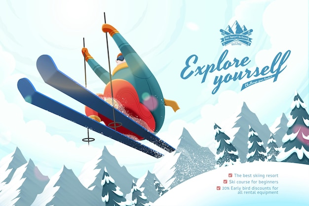 Рекламный курс горнолыжного курорта с профессиональным лыжником, прыгающим в воздухе, иллюстрация под низким углом