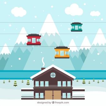 平屋のあるスキー場のデザイン