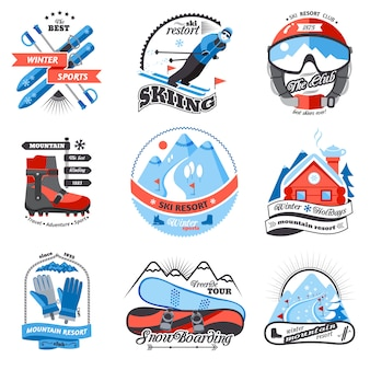 Ski resort emblems set