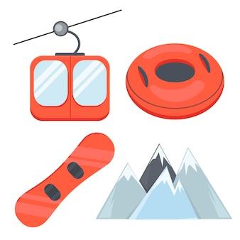 スキーリゾートフラットベクトルアイコンセット山ケーブルカースノーボードインフレータブルスノーチューブ冬をお楽しみください
