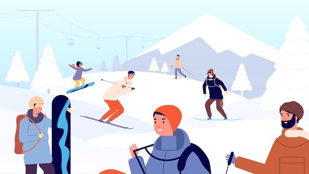 スキーリゾート。楽しい冬の人々、スキーヤー、スノーボーダー。山での休日、雪の風景と極端なスポーツ男女ベクトルイラスト。マウンテンリゾートとランドスケープライフスタイル、スノーボードレジャー