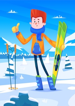 Ski resort holidays. cute skier character  with skis in hands. snow background with trees. flat vector stock illustration.