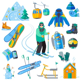 Ski resort icons set with winter sport equipment