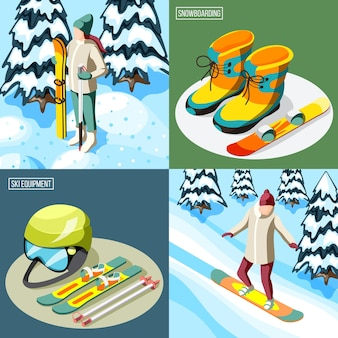 Ski resort isometric design concept skier with sports equipment and snowboarder on slope isolated illustration