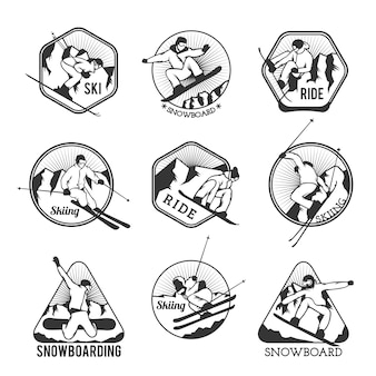 Ski resort logo emblems