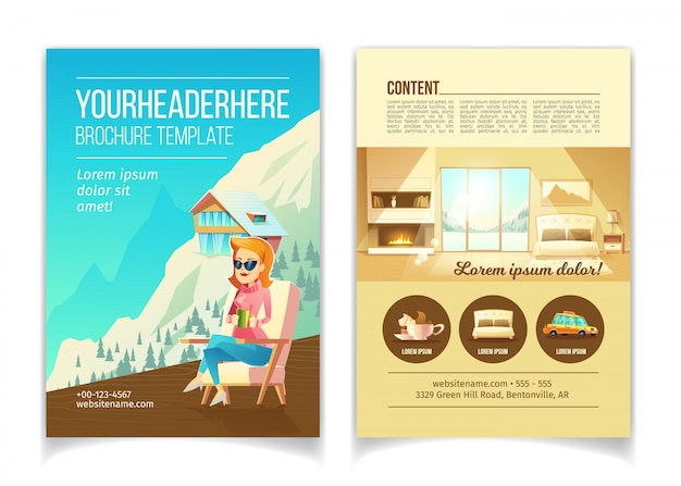 Ski resort luxury hotel cartoon vector advertising brochure, promo booklet template. woman sitting i